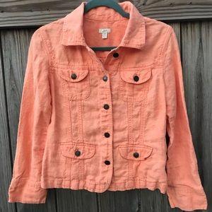🌷 J.Jill | Button Linen Jacket | Peachy-Orange